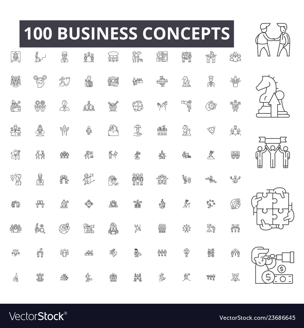 Business concepts editable line icons 100