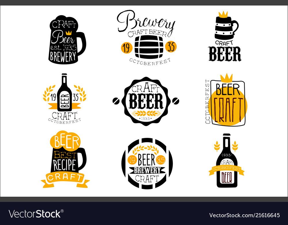 Craft brewery set of logo design templates