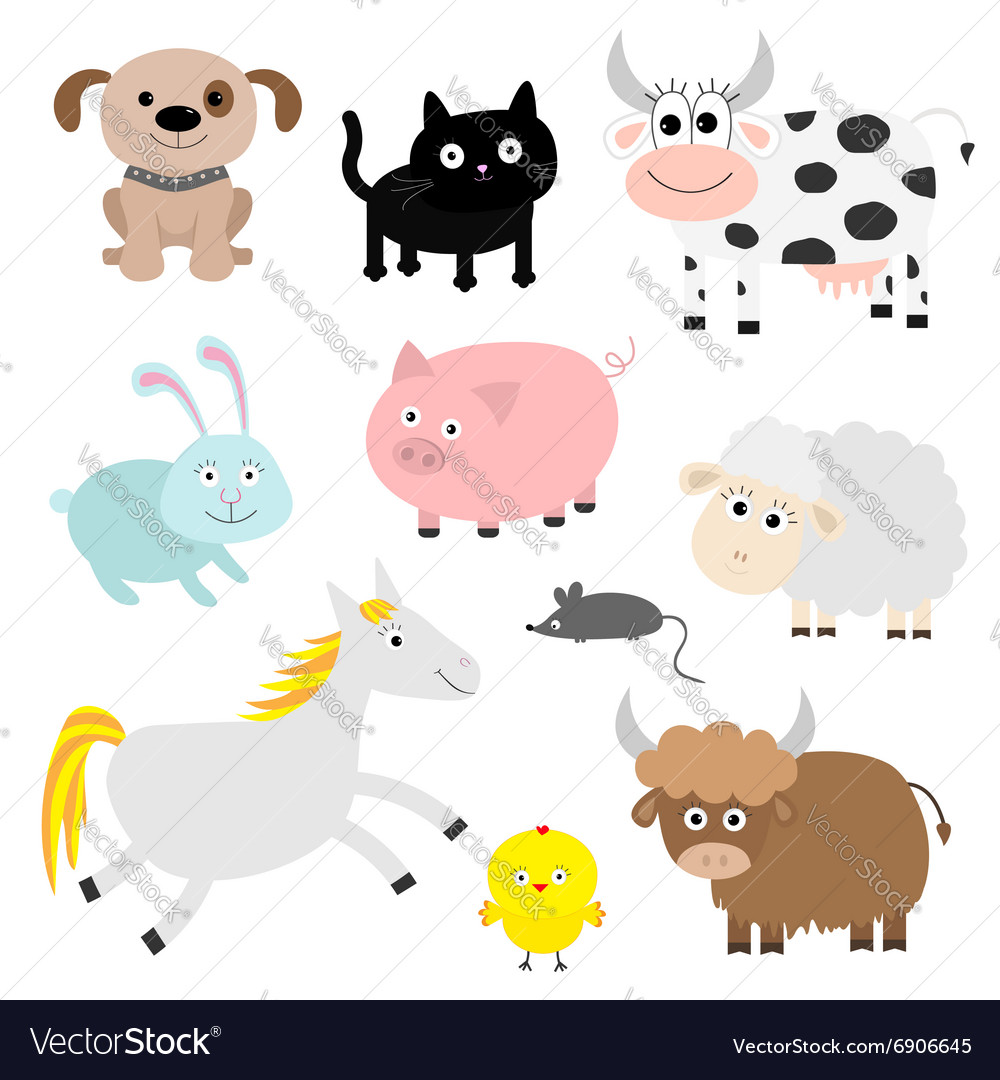 Farm animal set Dog cat cow rabbit pig ship mouse vector image