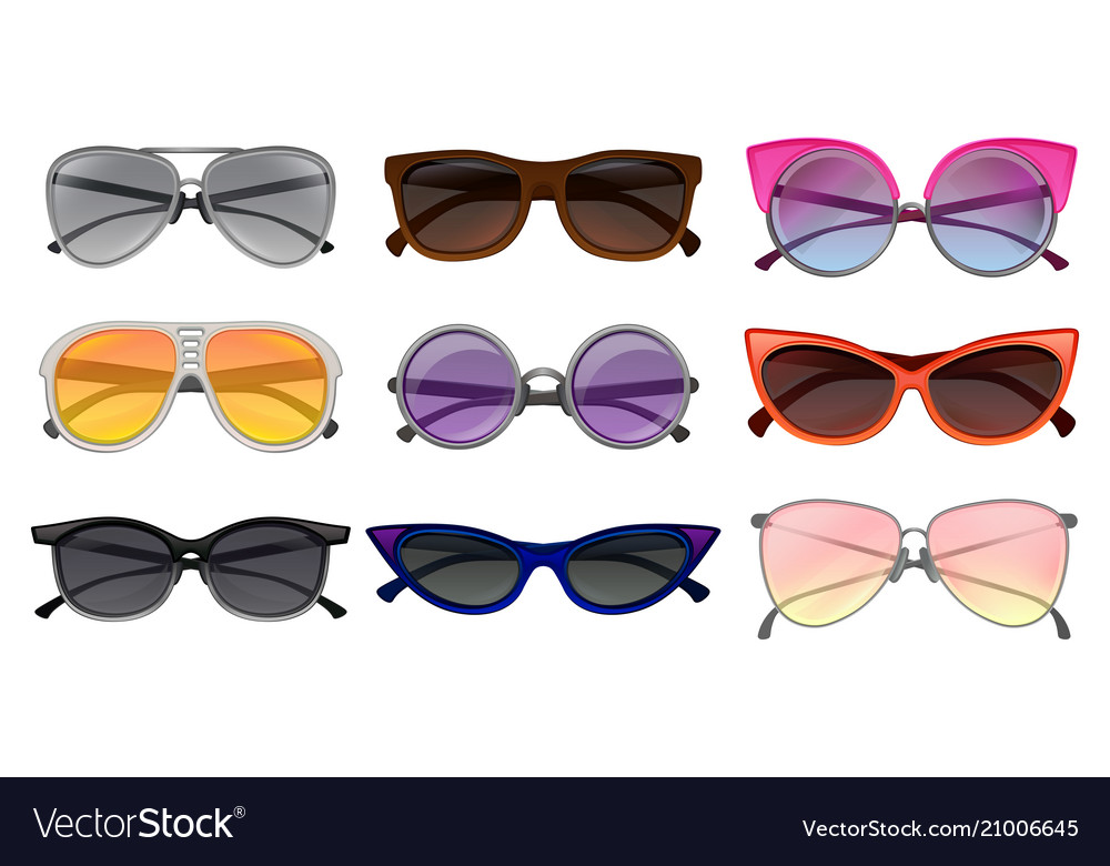 83b75cc1b71 Flat set of different types sunglasses Royalty Free Vector