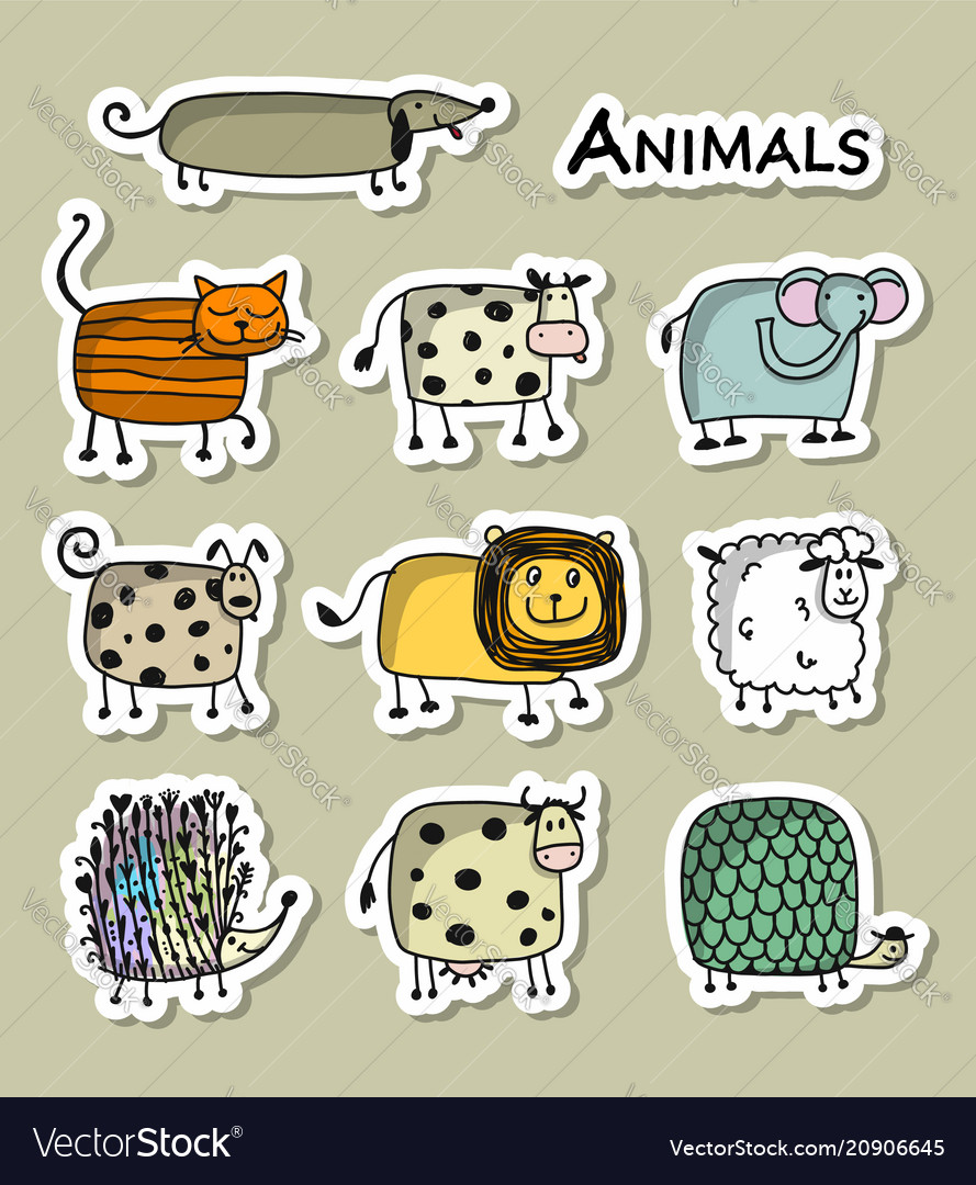 Funny animals sticker set for your design