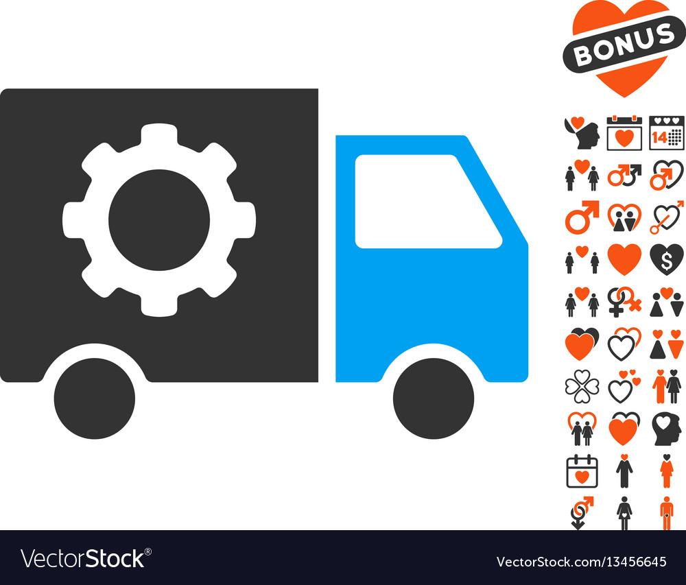 Gear tools delivery car icon with love bonus vector image