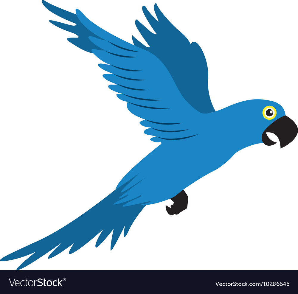Parrot blue flying isolated icon