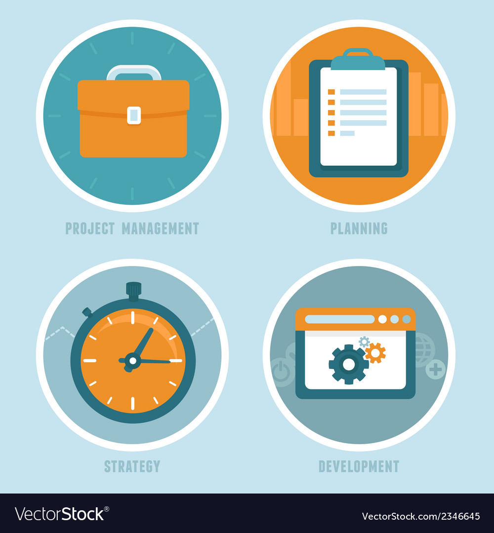 Project management concepts in flat style