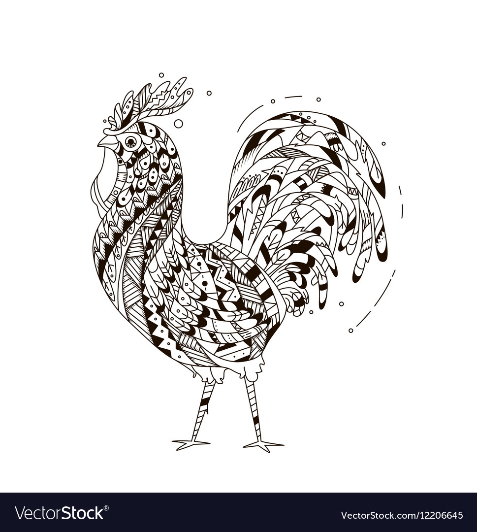 Rooster inspired zentangle style