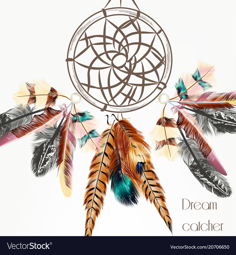 Background with dream catcher from feathers