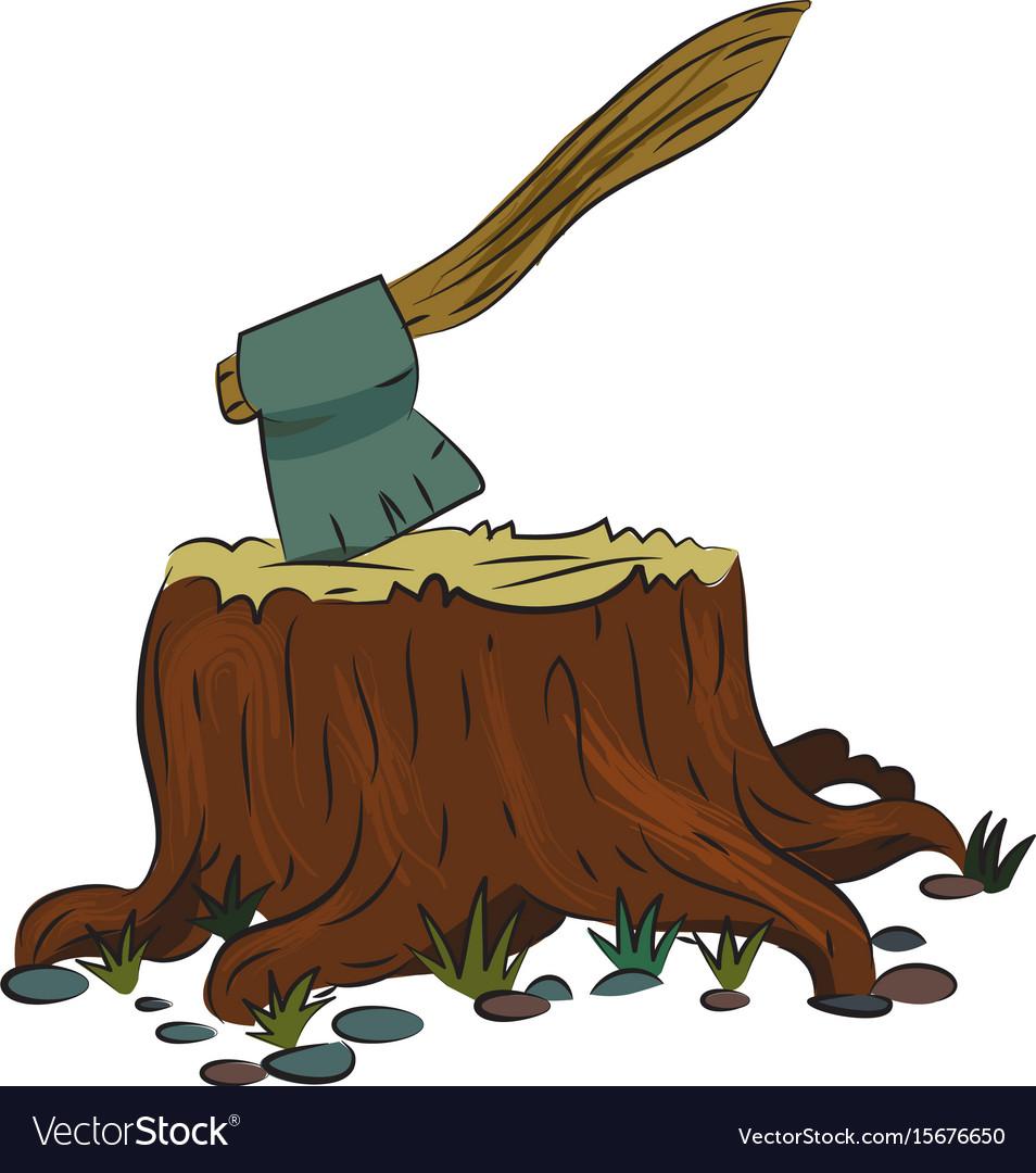 Cartoon Image Of Tree Stump And Axe Royalty Free Vector