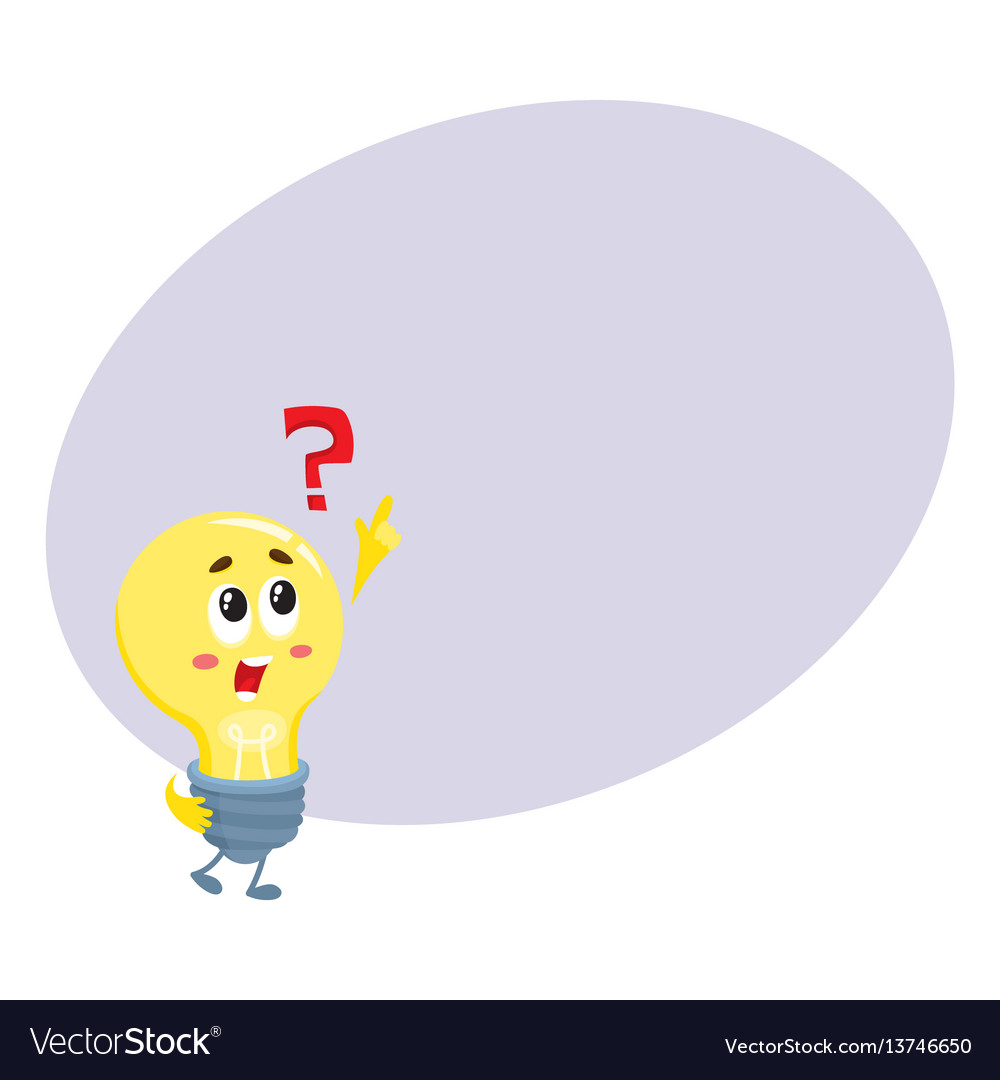 Cute light bulb character with funny face and