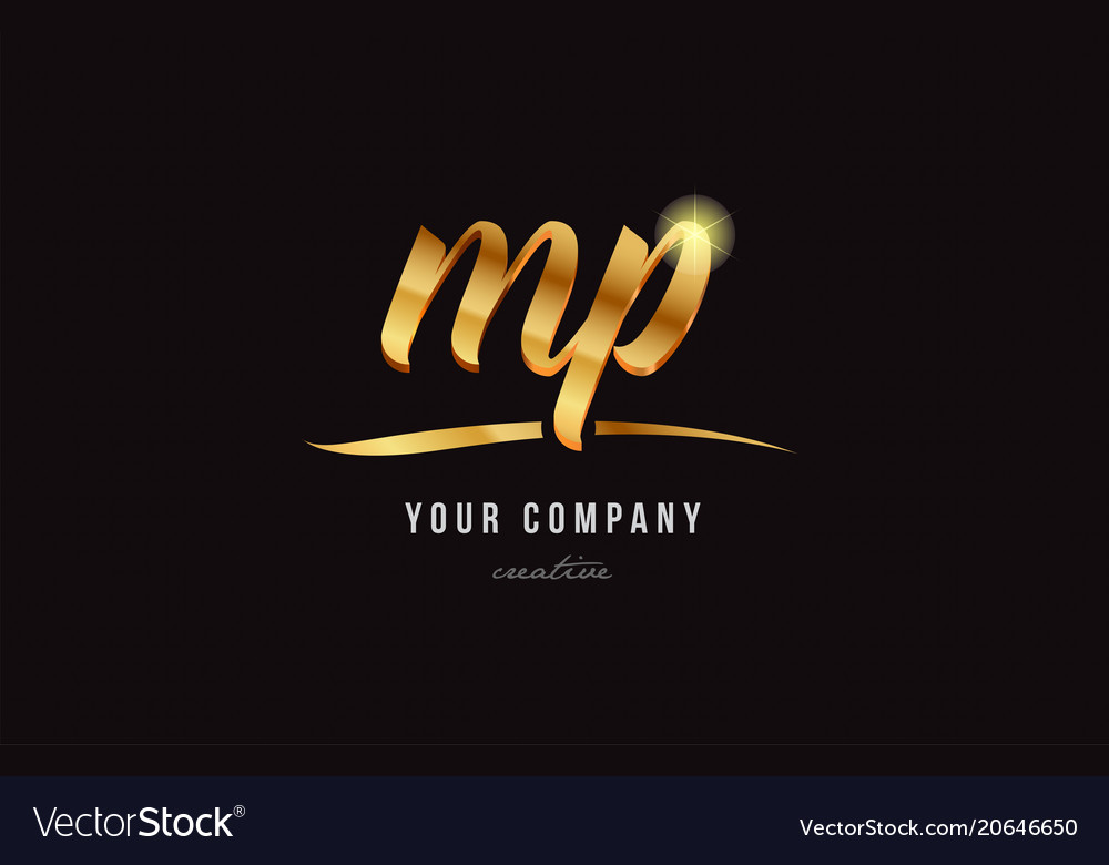 Gold Alphabet Letter Mp M P Logo Combination Icon Vector Image