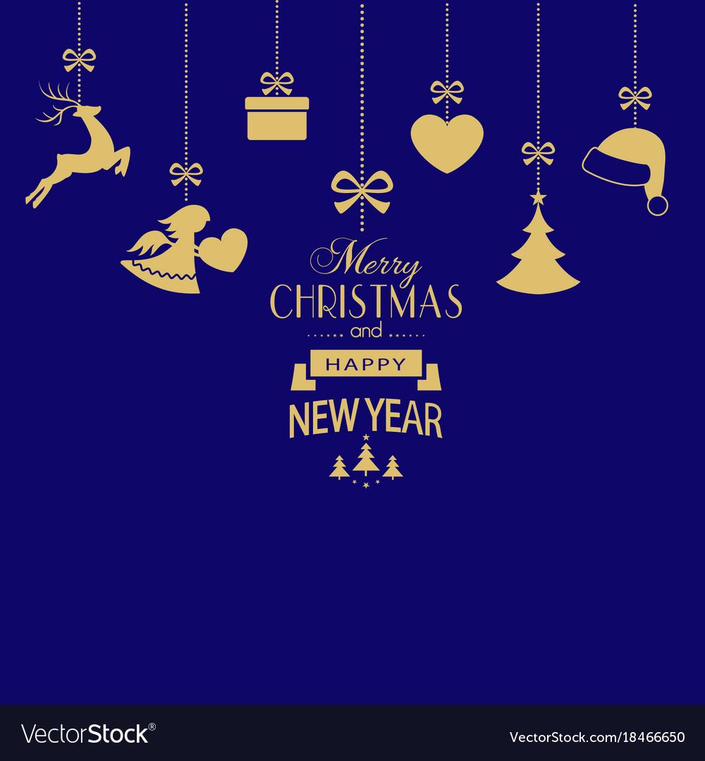 Set of hanging golden christmas ornaments on dark
