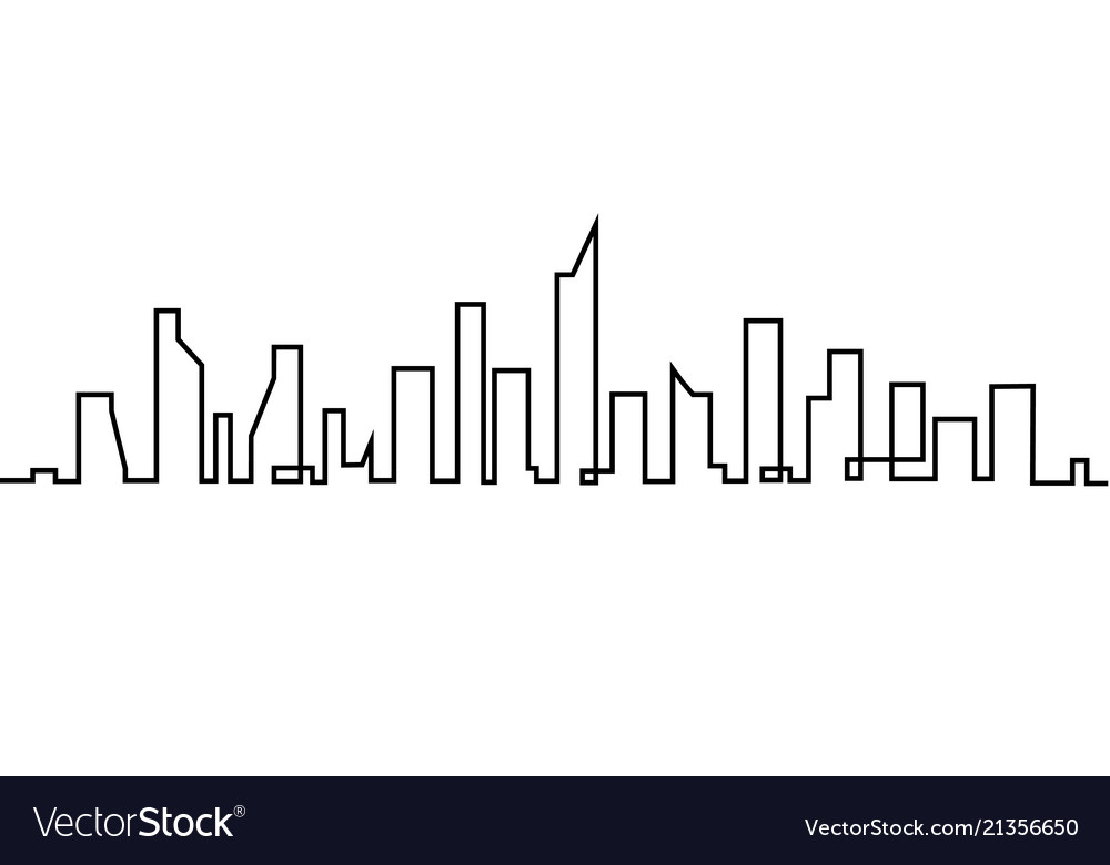 Silhouette of the city in a flat style modern