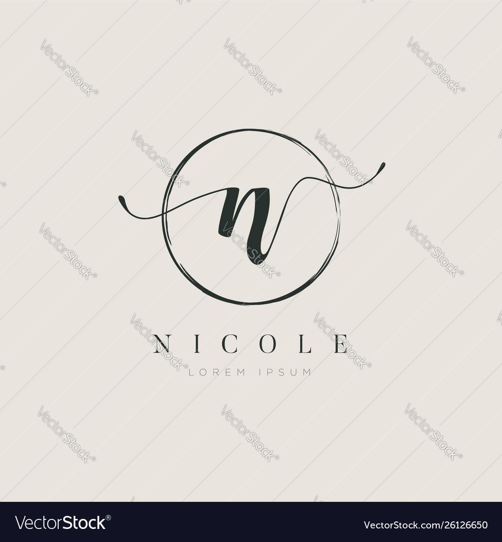 Simple elegant initial letter type n logo sign