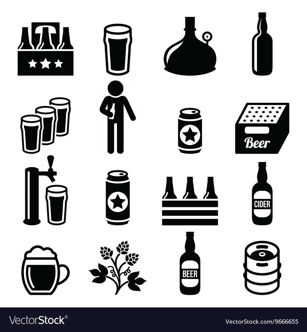 Beer brewery pub icons set