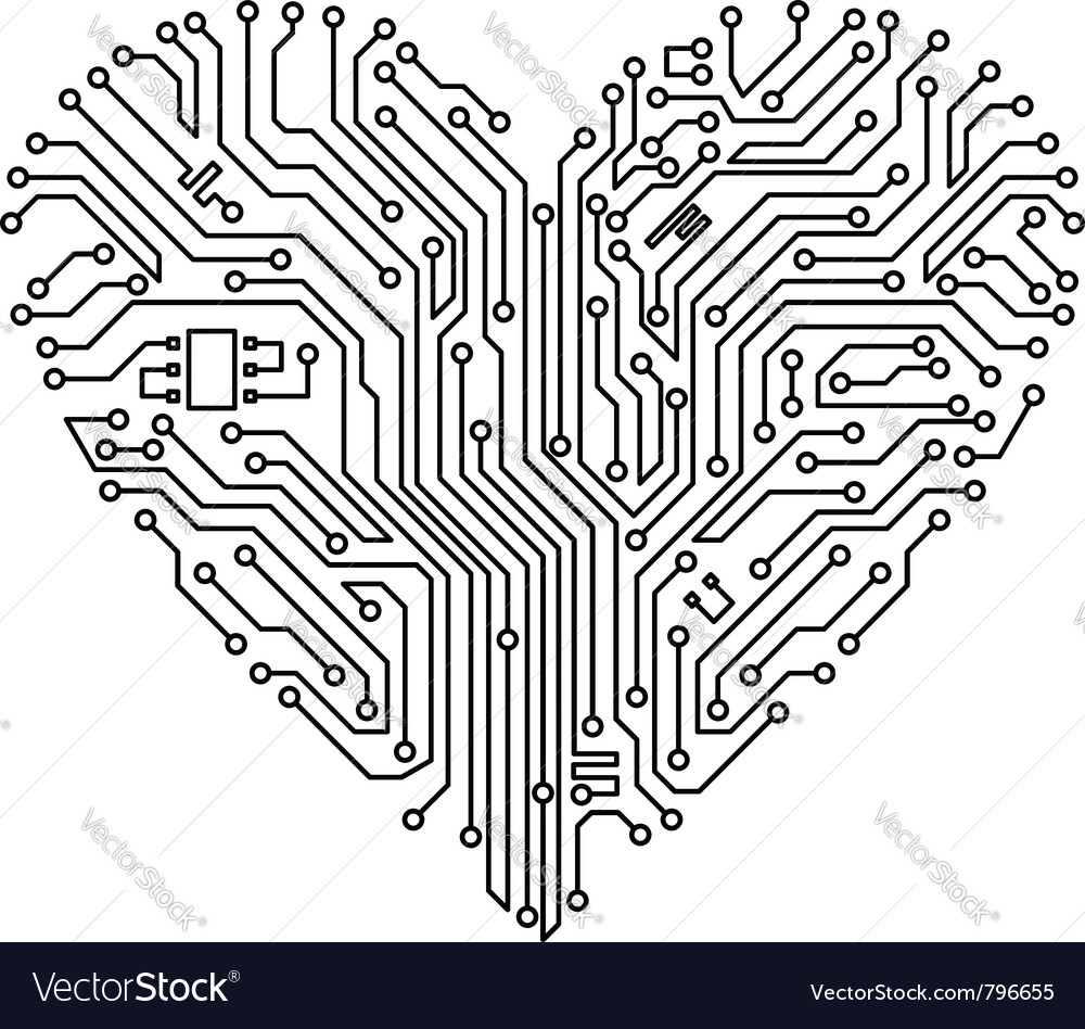 Computer heart with motherboard