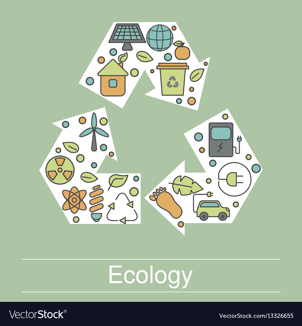 Ecology with eco icons ecology with