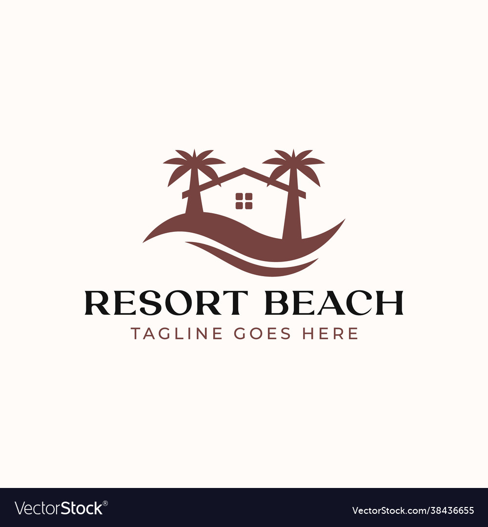 Palm resort logo template isolated in white