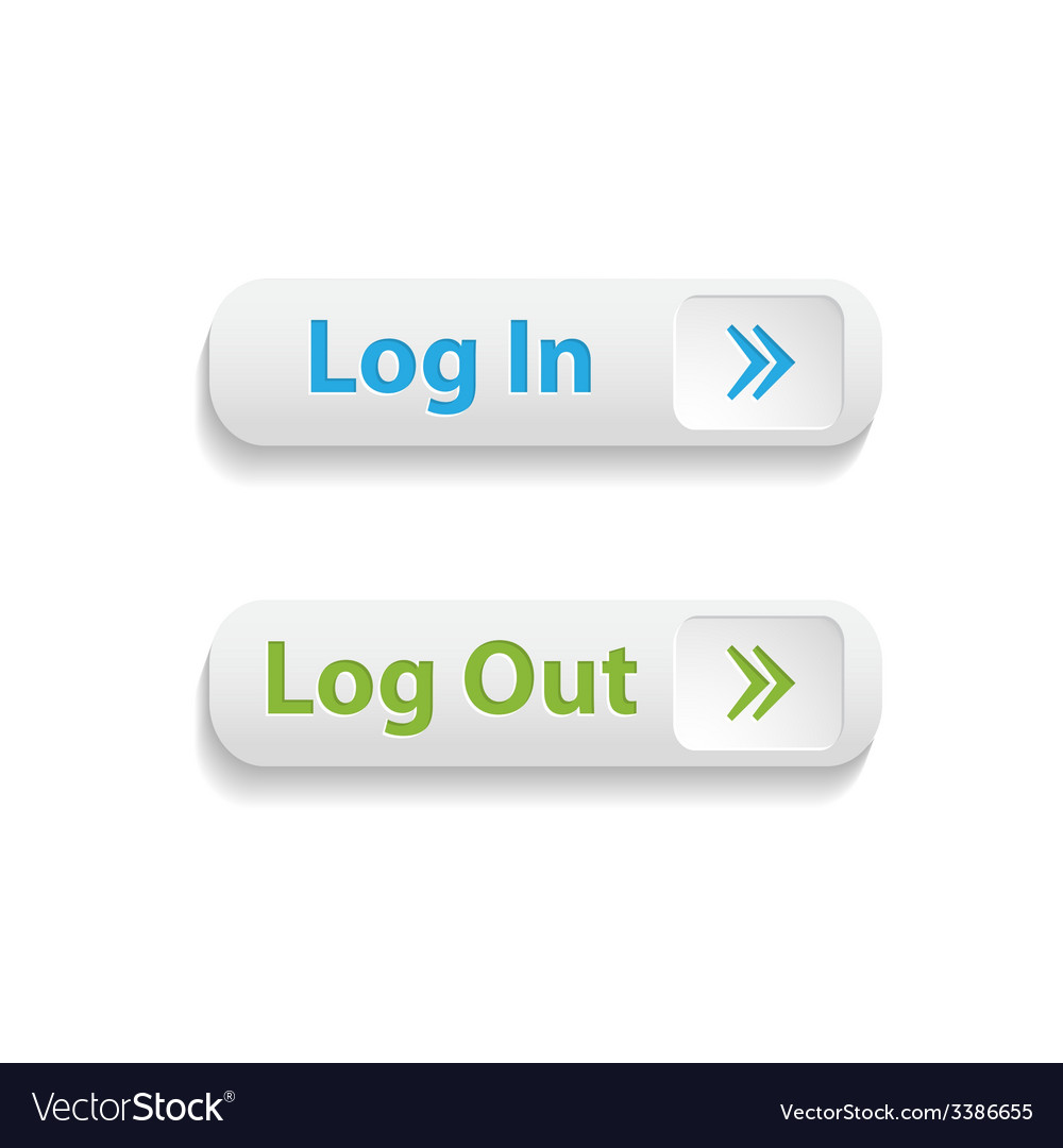 Realistic web login and log out buttons isolated