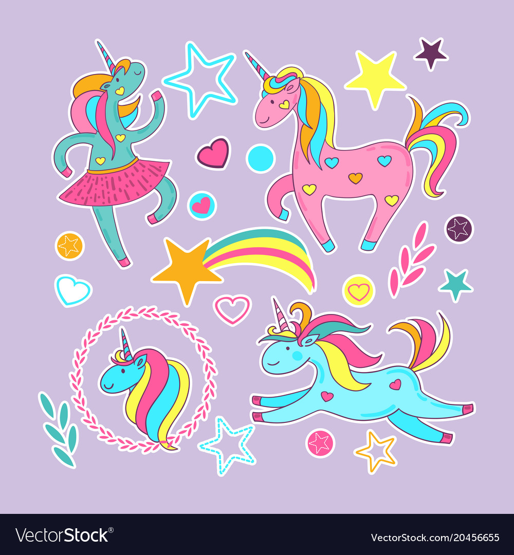 Set of stickers - cute cartoon unicorns stars