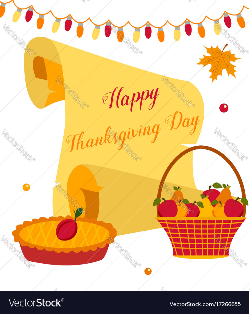 Thanksgiving background with pie basket of fruits