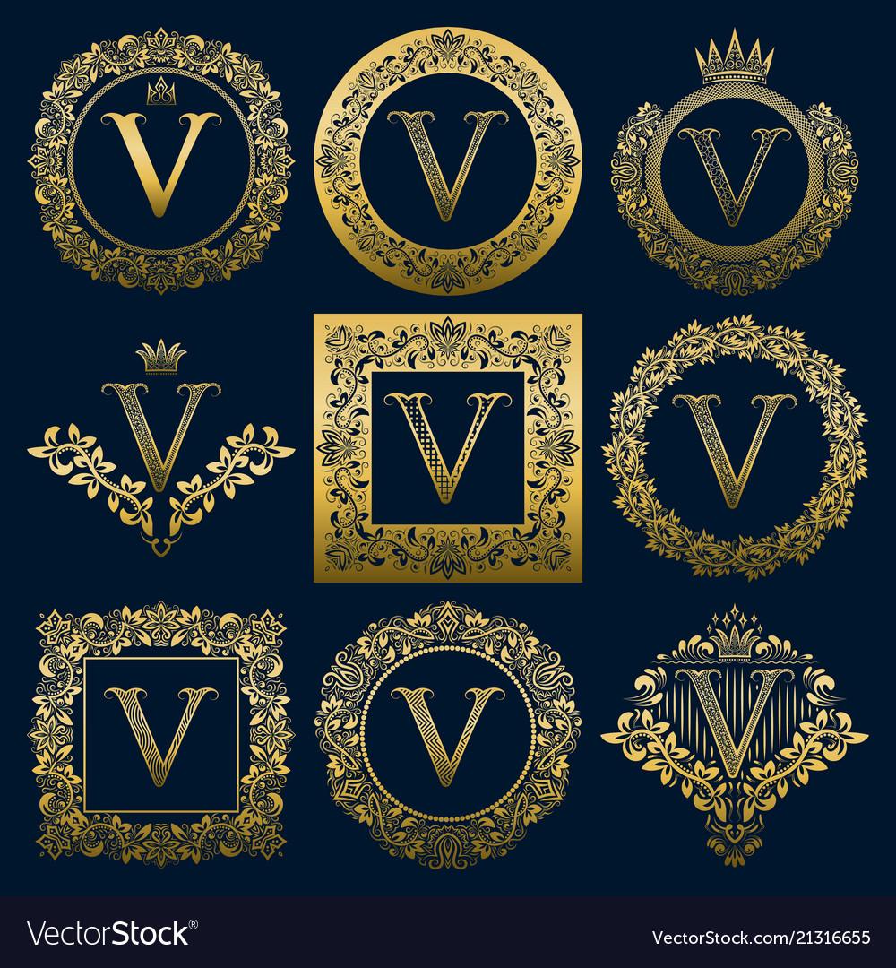 Vintage monograms set of v letter