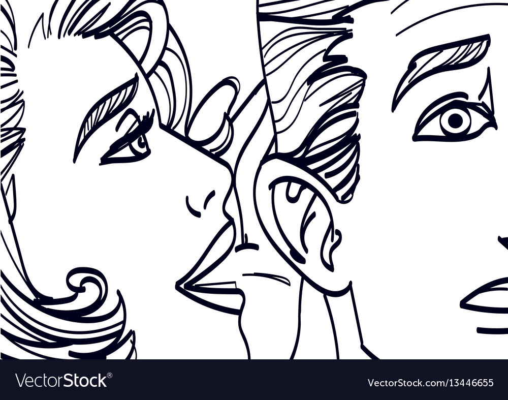 Woman whispering in mans ear drawing Royalty Free Vector Woman Ear Sketch