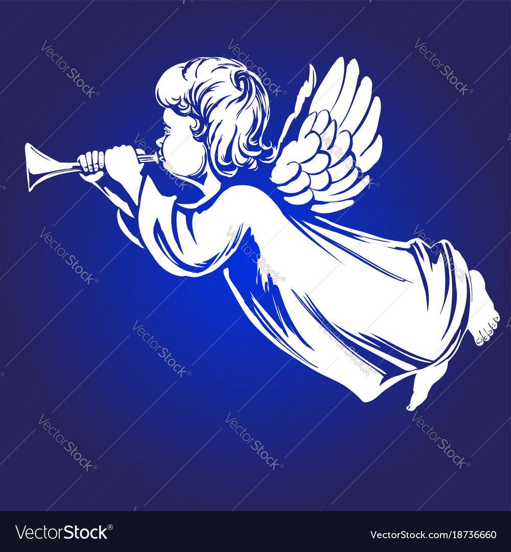 Angel flies and plays the trumpet religious