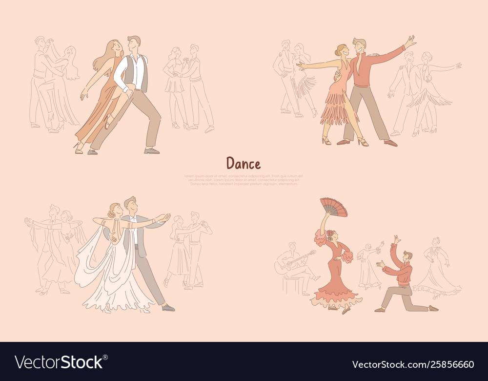 Ballroom dancers performance graceful couples