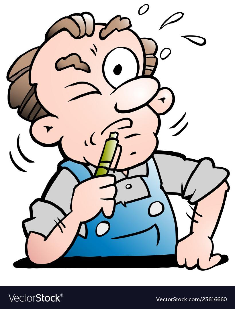 Cartoon of a older senior worker