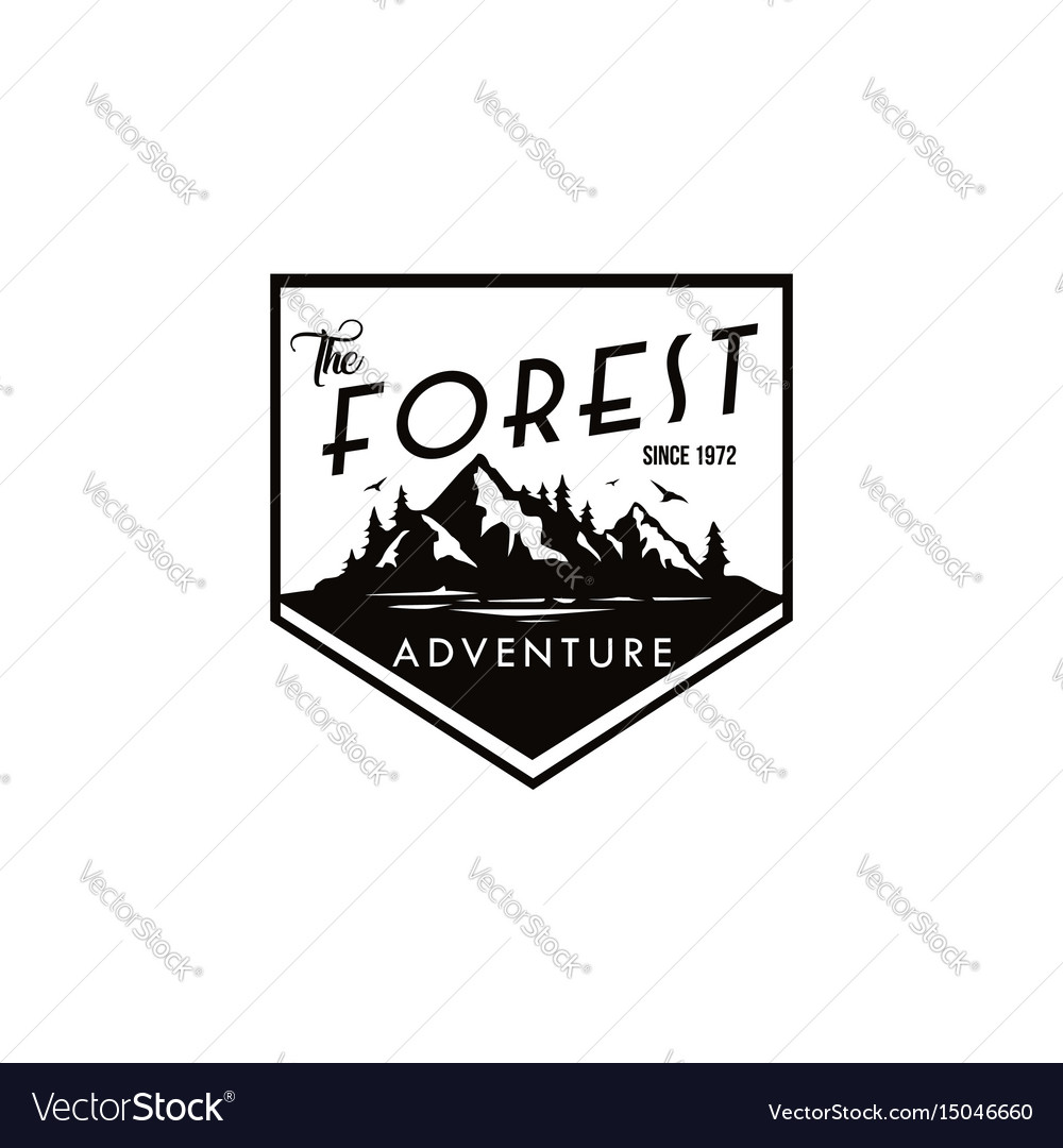 Forest mountain adventure black and white badge
