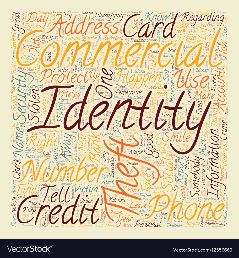 Identity theft commercial text background vector image