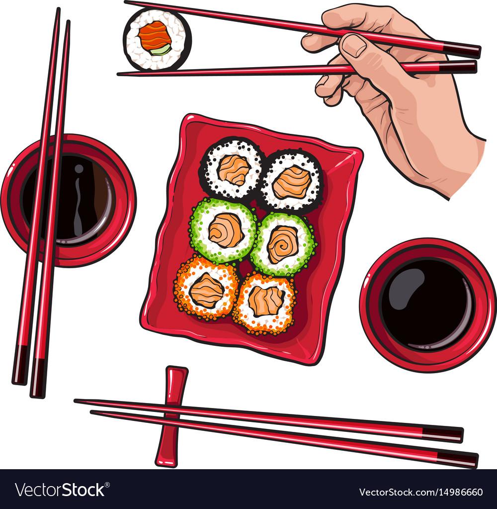 Japanese sushi set serving plate hand holding