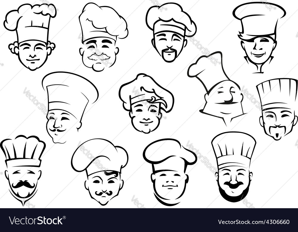 Multiethnic chefs in toques in sketch style