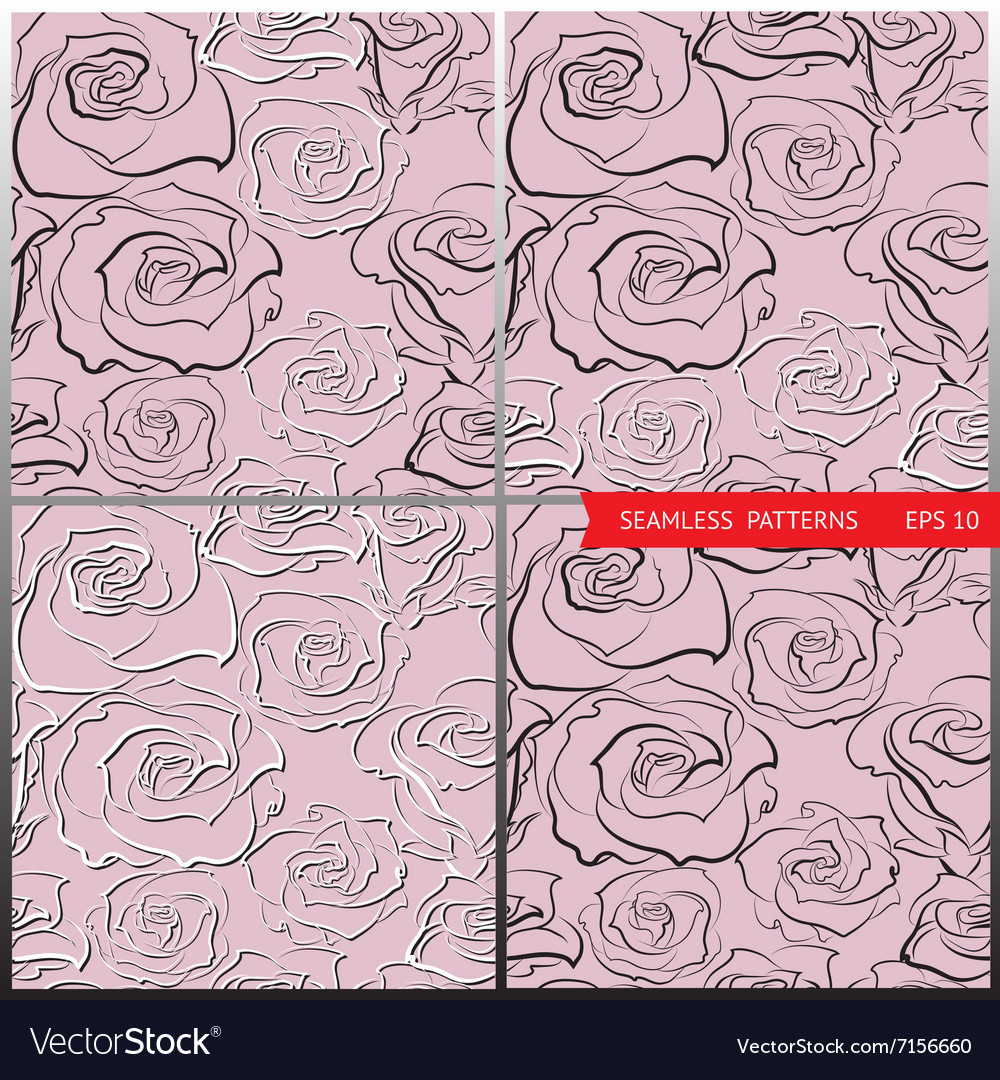 Patterns with hand-sketched roses