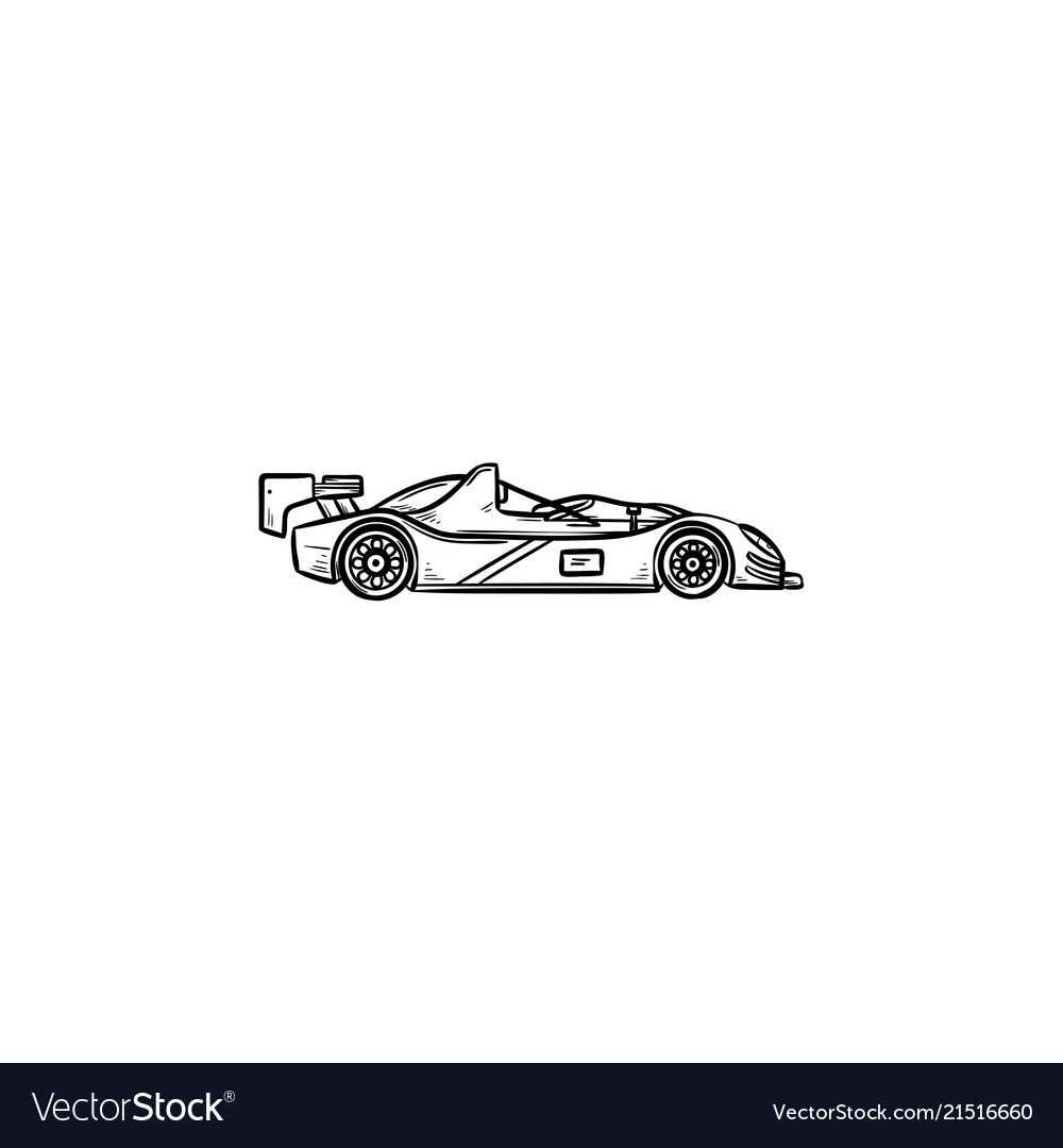 Race Car Hand Drawn Outline Doodle Icon Royalty Free Vector