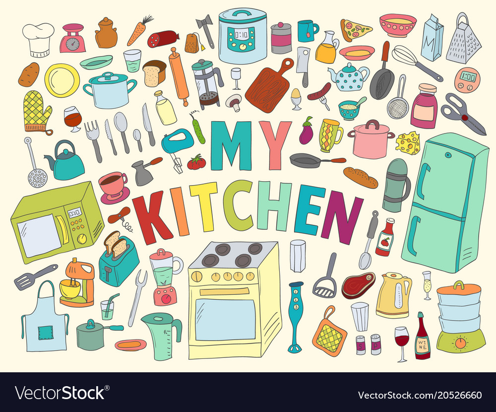 Set hand drawn icons kitchen