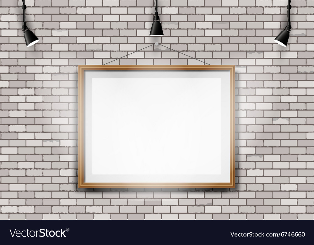 White brick wall picture projector vector image