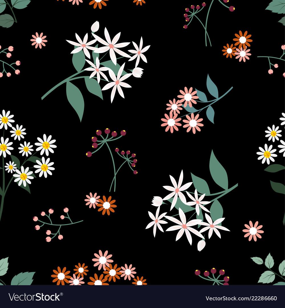 Wild flower seamless pattern on dark background