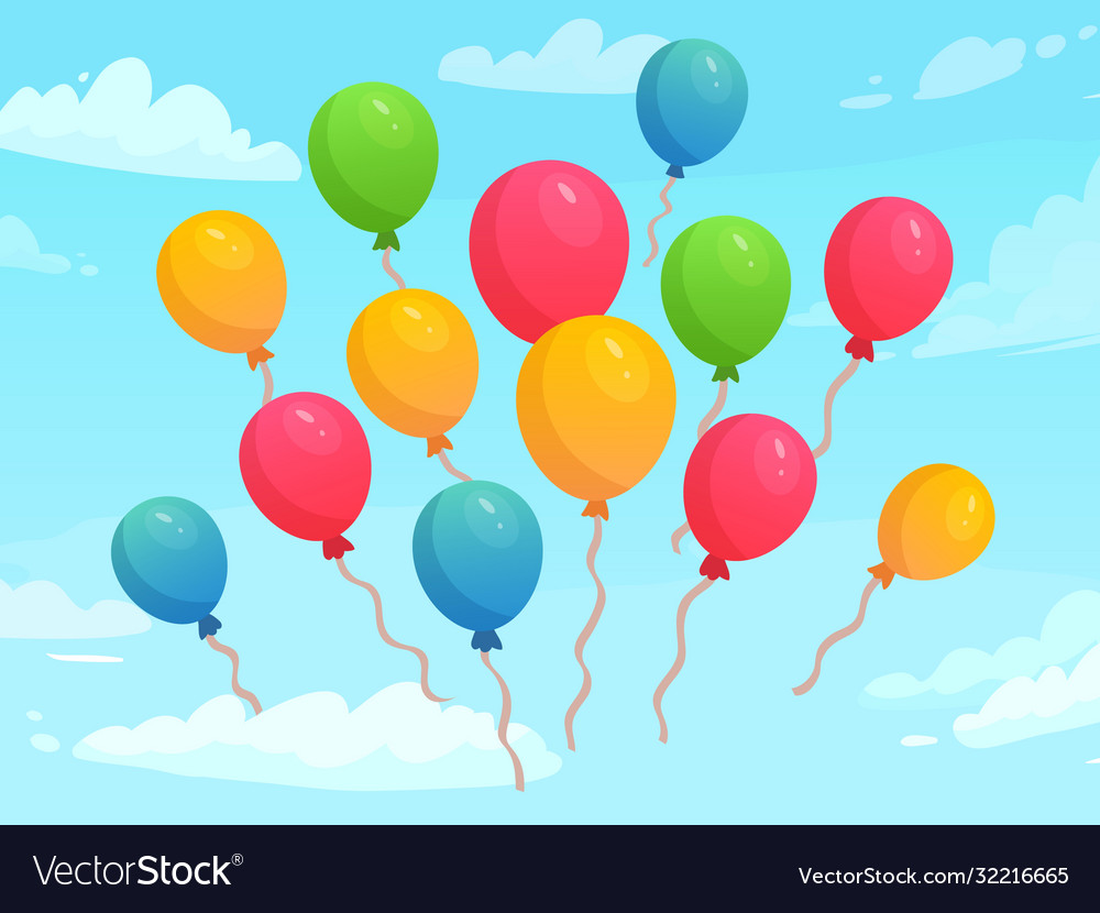 Balloons flying in sky among clouds colorful
