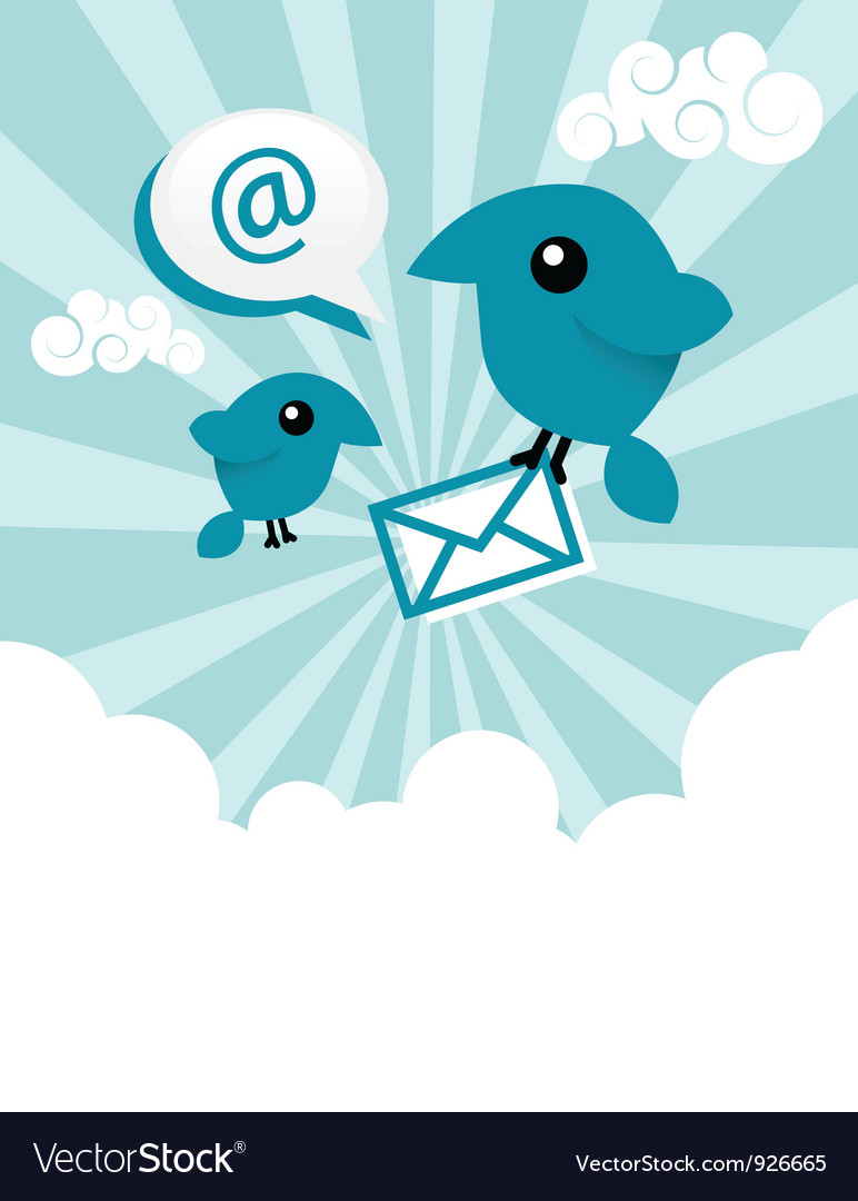 Blue Email Birds vector image