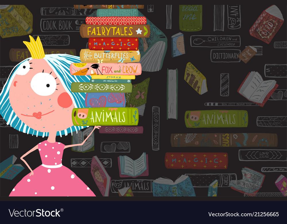 Books and reading kid girl fairy tale princess