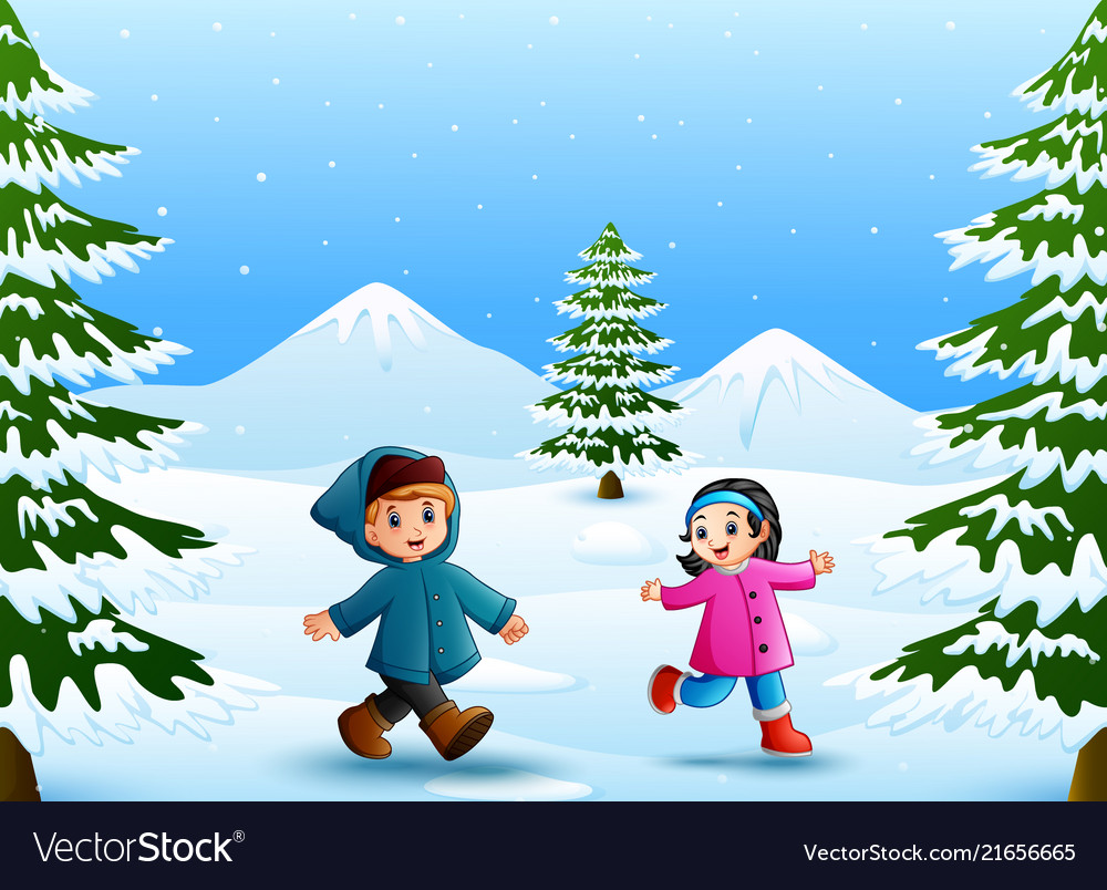 Cartoon Kids Playing In The Snow Royalty Free Vector Image