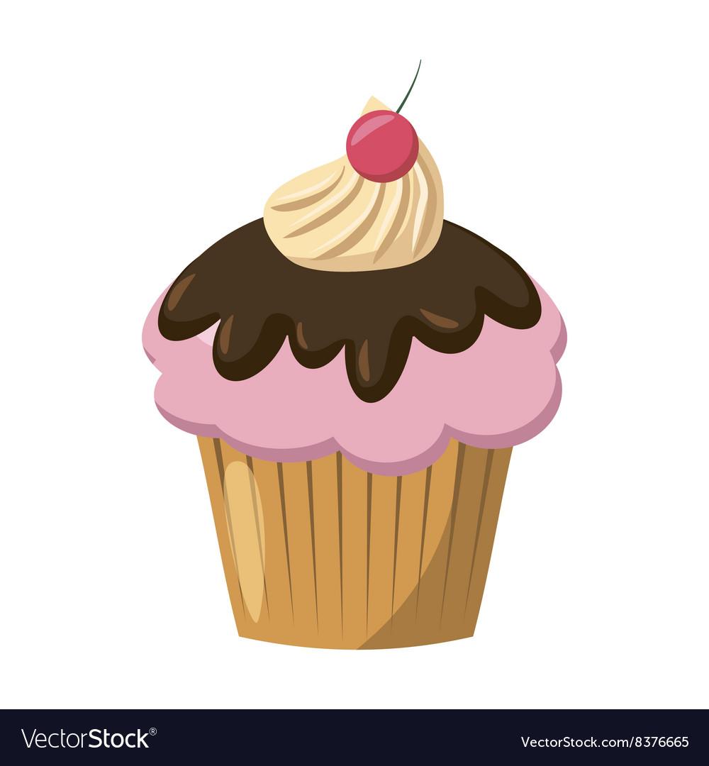 Cherry cupcake icon cartoon style Royalty Free Vector Image