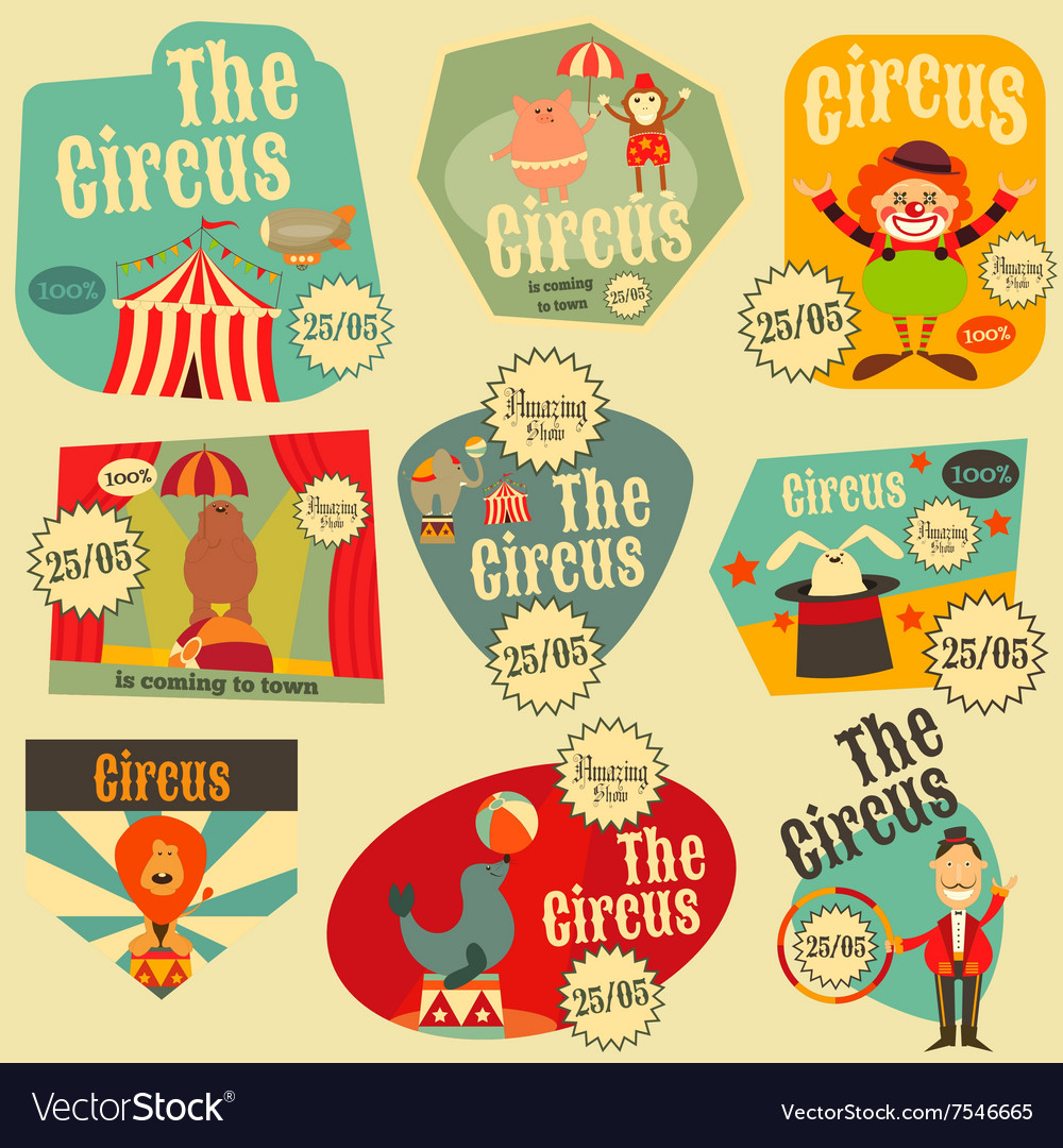 Circus Entertainment Labels Retro Set