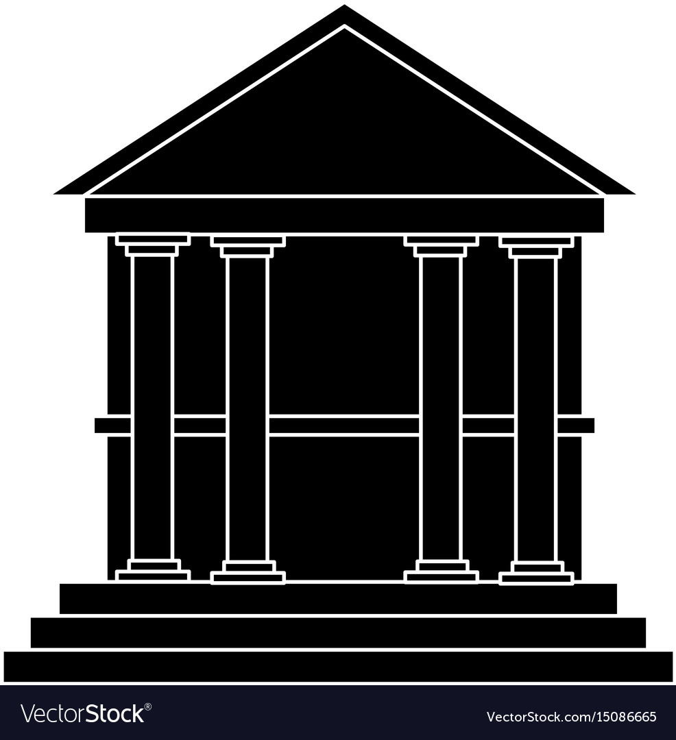 Classical building with columns university bank