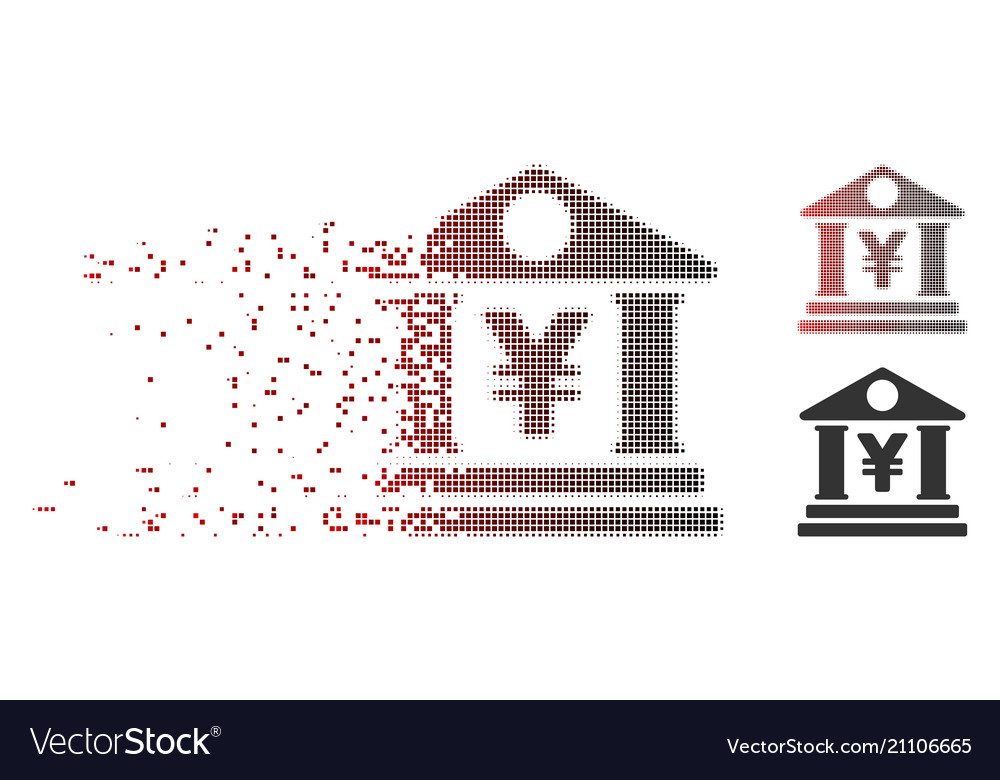 Dissipated pixel halftone yen bank building icon