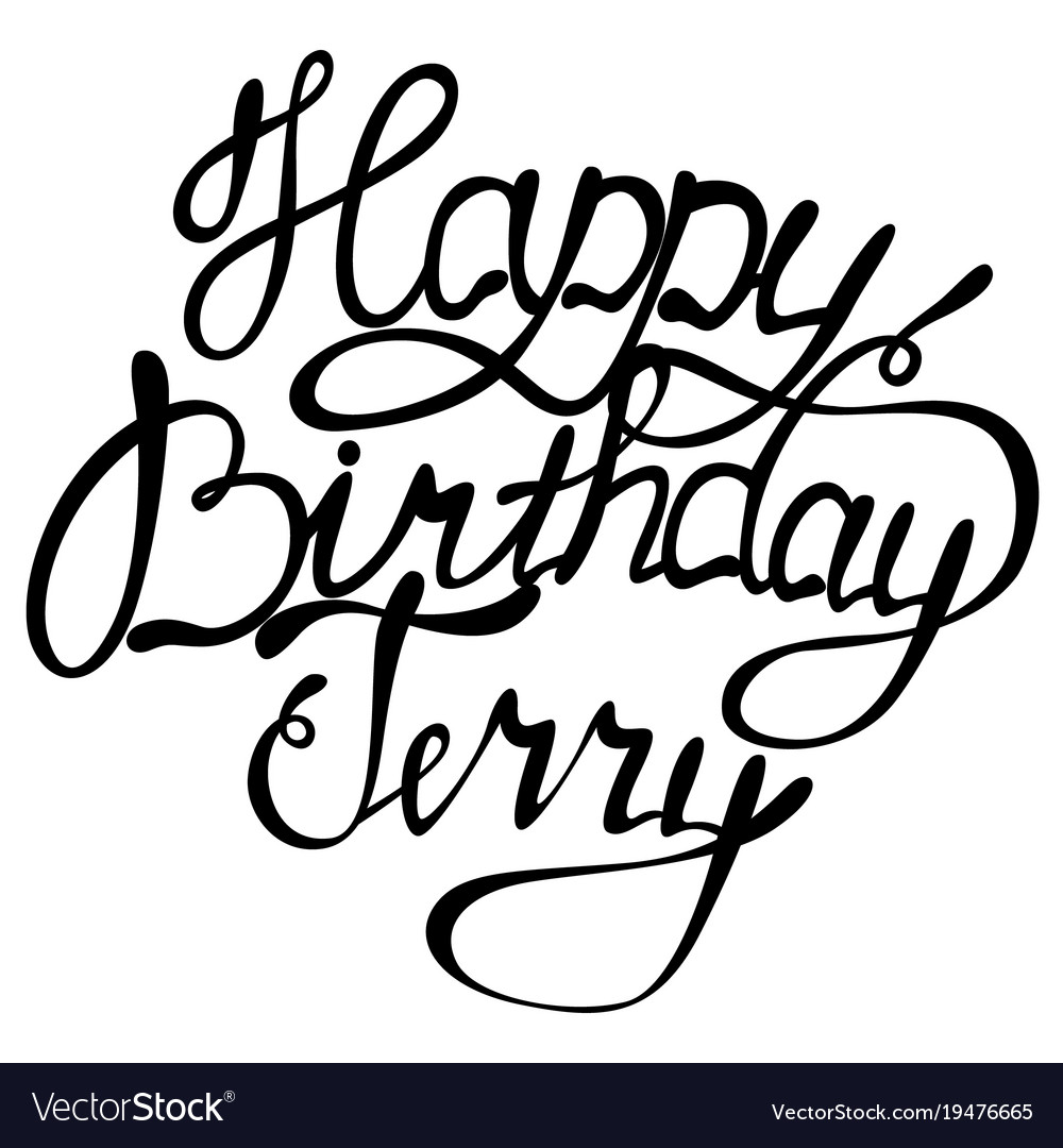 Happy Birthday Terry Name Lettering Vector Image