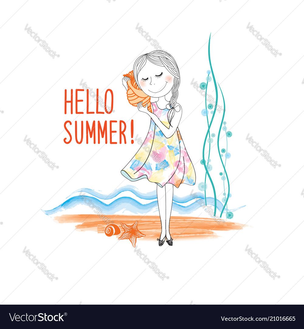 Hello summer seaside background happy girl listen