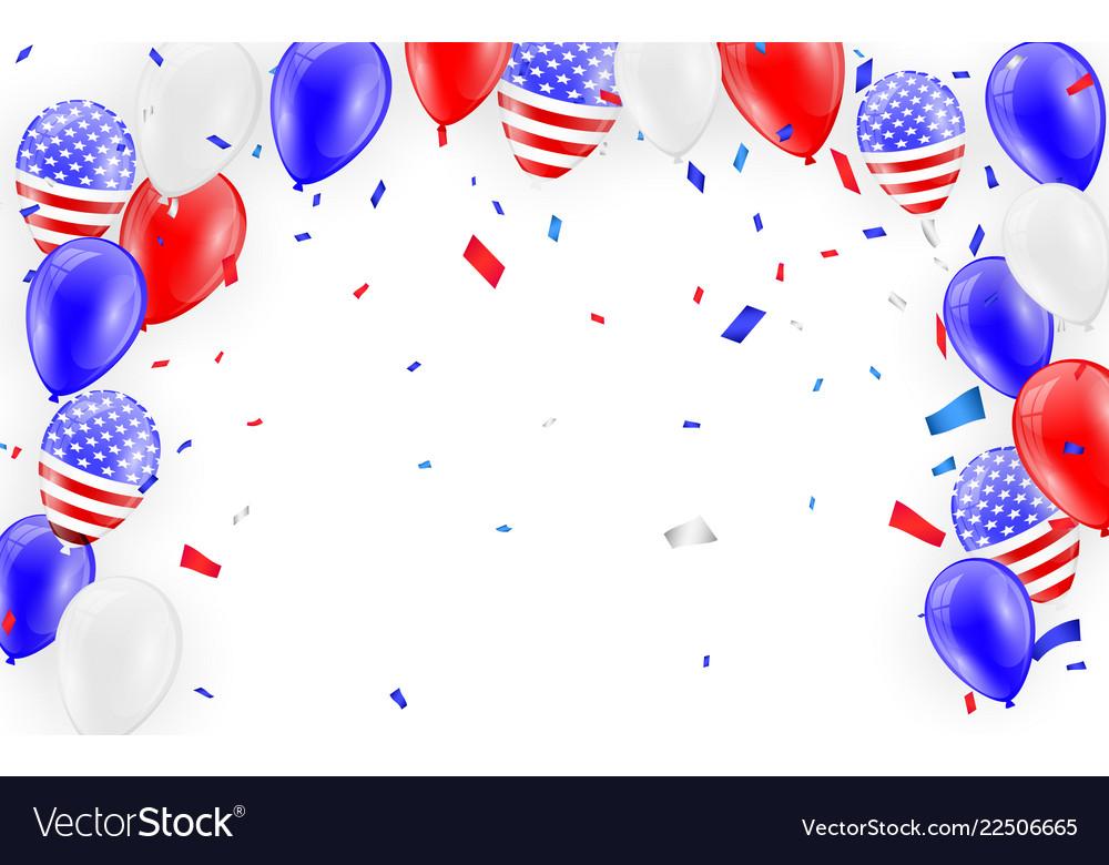 Holidays card design american flag balloons