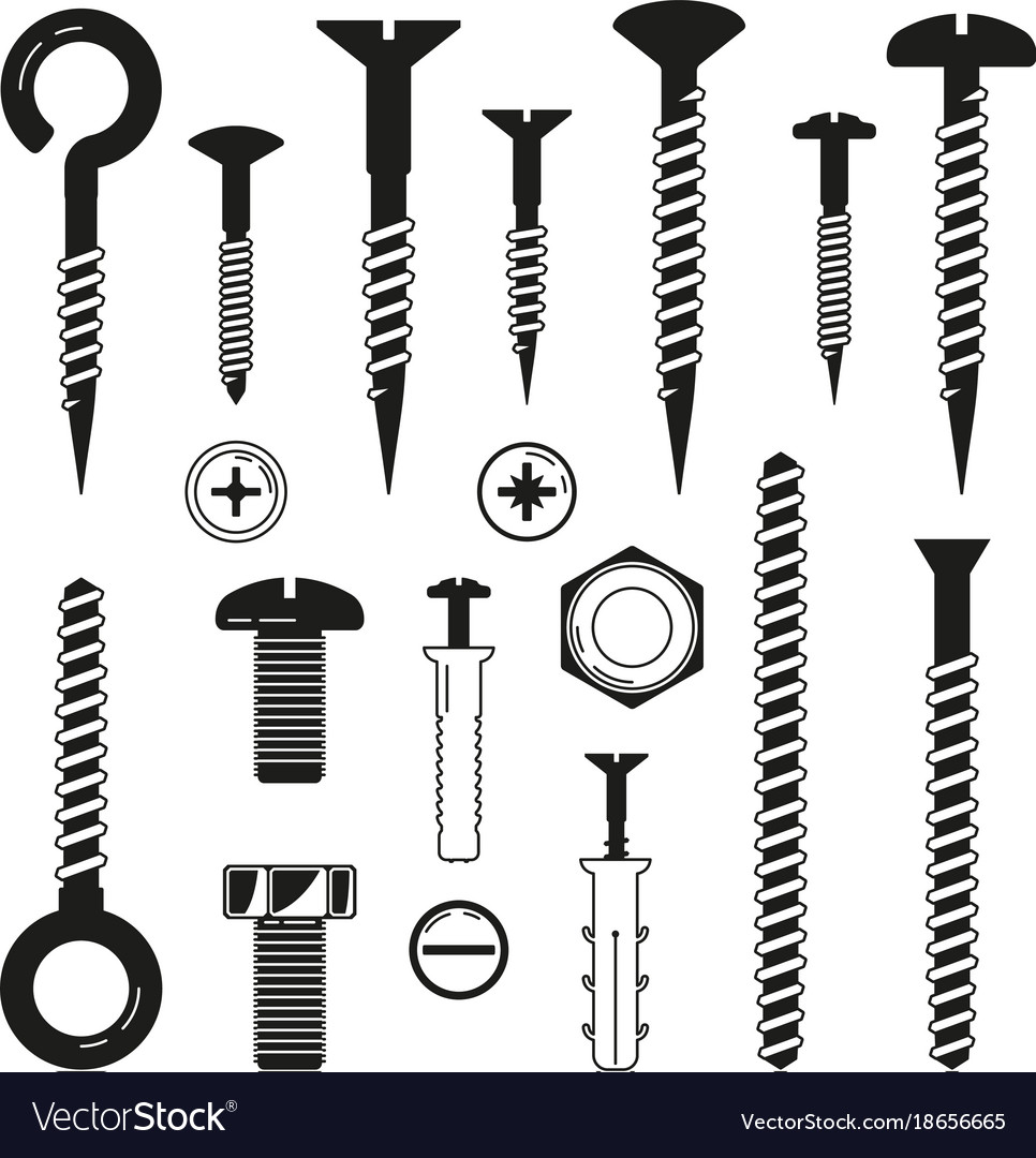 Monochrome of iron bolts nuts