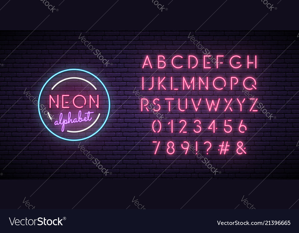 Neon pink font english alphabet and numbers sign